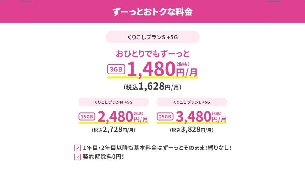 UQモバイルの5Gプラン「くりこしプラン +5G」